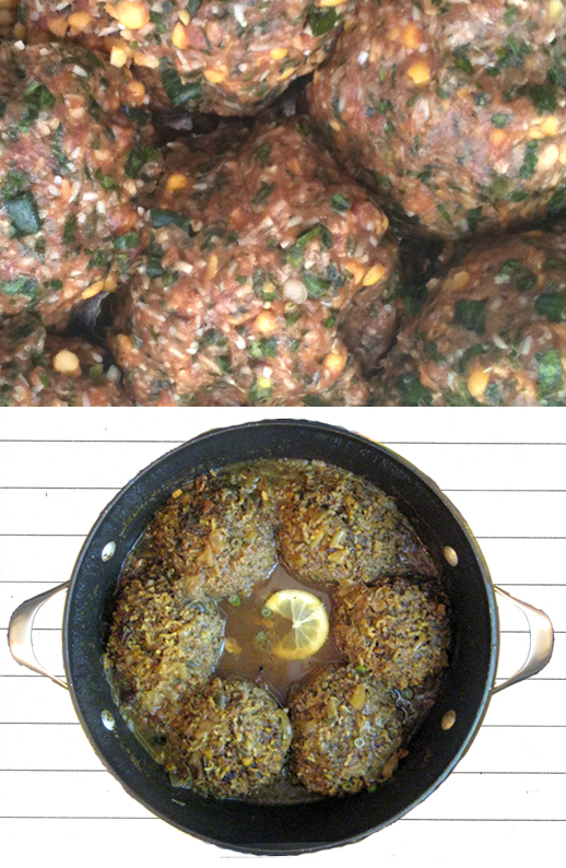 raw and cooked Persian stuffed meatballs (koofteh berenji) in the pot | recipe by Fig & Quince (Persian food blog)