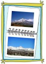 2 scenic photos of Mount Damavand in Iran (kooh 'e damavand) in a photo collage illustration style | FigandQuince.com (Persian Cooking and Culture blog)