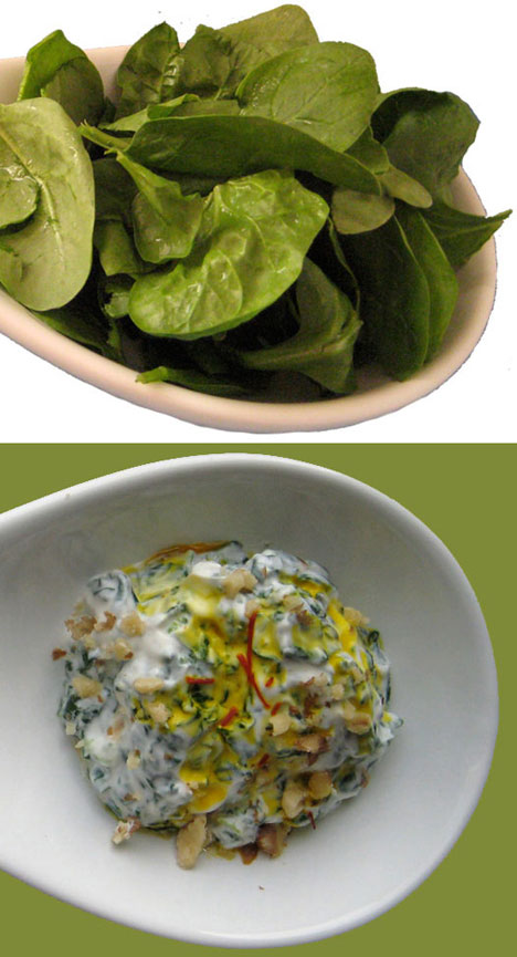 close up raw spinach leaves & borani spinach esfenaj Persian food Iranian cuisine vegetarian recipe by Azita Houshiar