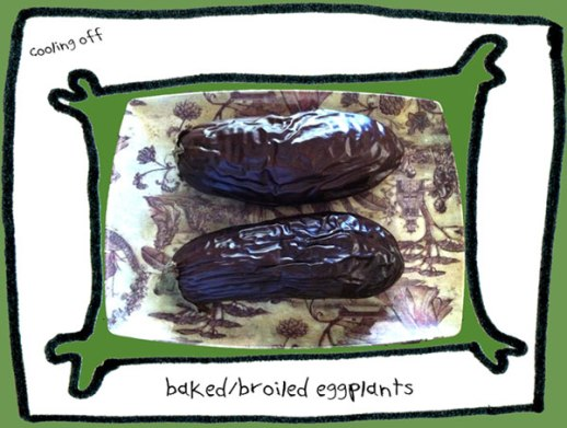 eggplants baked or broiled two with crinkly skin. The main ingredient of the Persian food Mirza Ghassemi