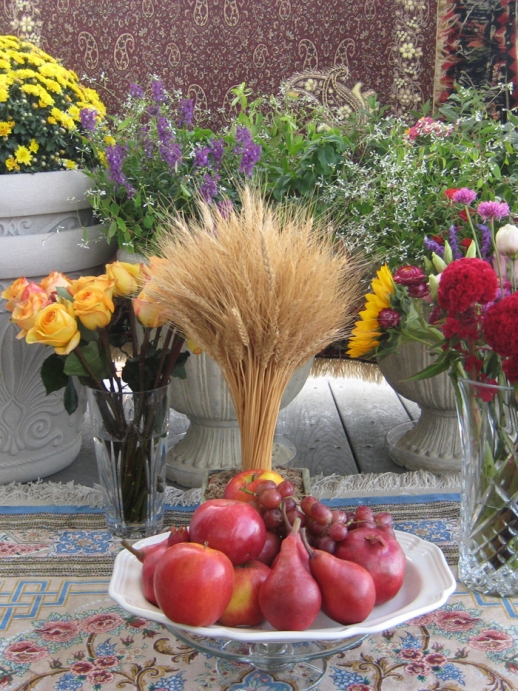 apples, pomegranates, wheat and flowers | Mehregan