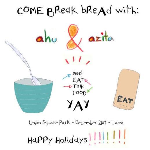 Illustrated invitation to meet eat talk event Azita Houshiar