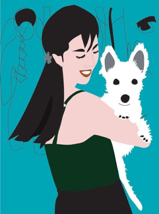 Girl puppy portrait digital art illustration