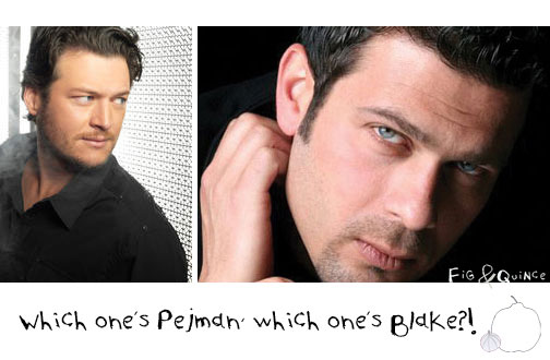 Side by side photo of Blake Shelton & Pejman Bazeghi (Iranian actor) - Separated at birth? | FigandQuince.com (Persian cooking & culture blog)