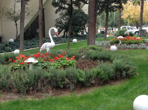 Flamingos and flowers Laleh Hotel Tehran Iran | @figandquince (Persian food culture blog)