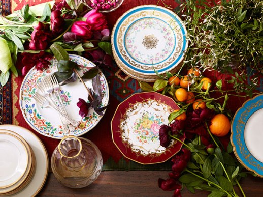Persian feast porcelain prop styling New York