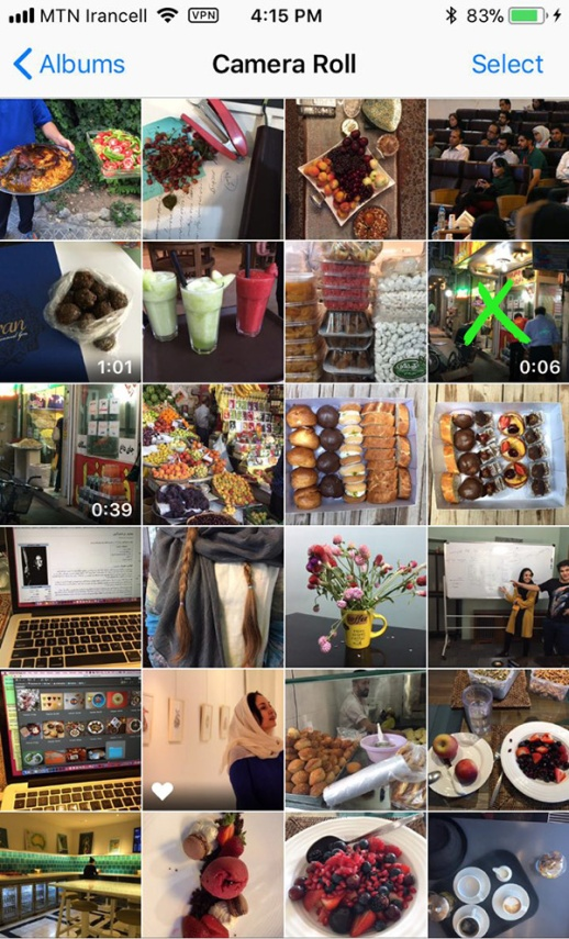 Screen cap of photos in iPhone camera roll