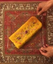 Persian food a loaf of sweet saffron rice cake