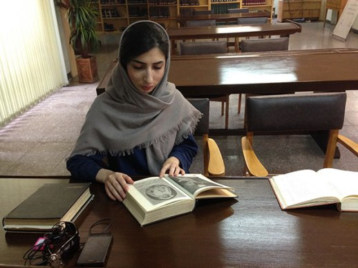 Persian girl in Tehran University reference library