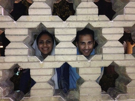 Shiraz man woman goofing around Hafizieh