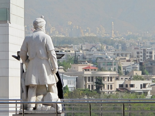 Statue of Ferdosi – the iconic & revered poet – overlooking the city. What does he see?