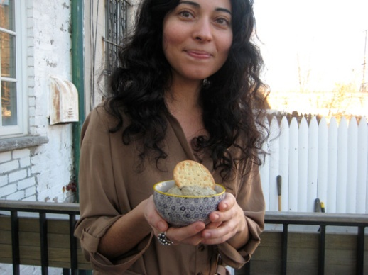 Lovely Azul holding a bowl of her delicious sunflower seed hummus. Recipe soon!