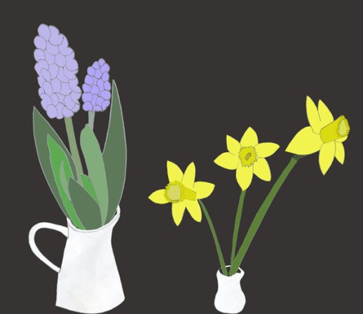 Hyacinths and daffodils illustration hand drawn Iranian New Year Norux custom by Fig & Quince (Persian food culture blog)