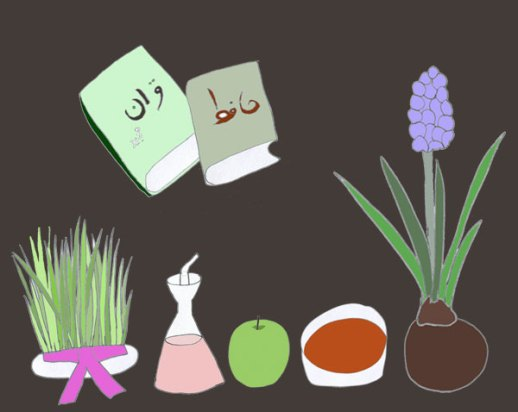 Haft Seen Illustration Persian New Year Norooz 7 S spread by Fig & Quince (Iranian food culture blog)