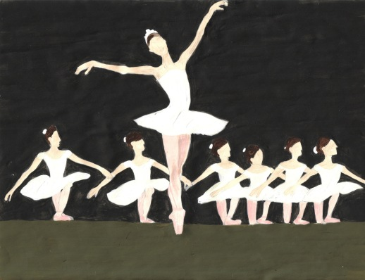 2 - prima ballerina and ballerinas swan lake scene illustration drawing