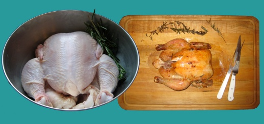 big plump chicken roasted and raw