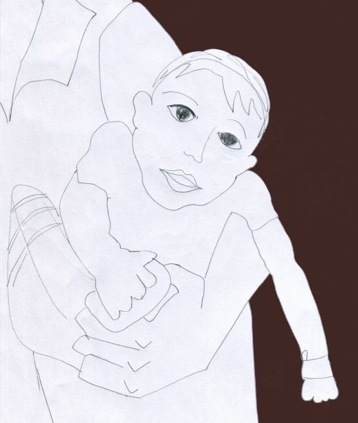 Child being held drawing illustration Persian