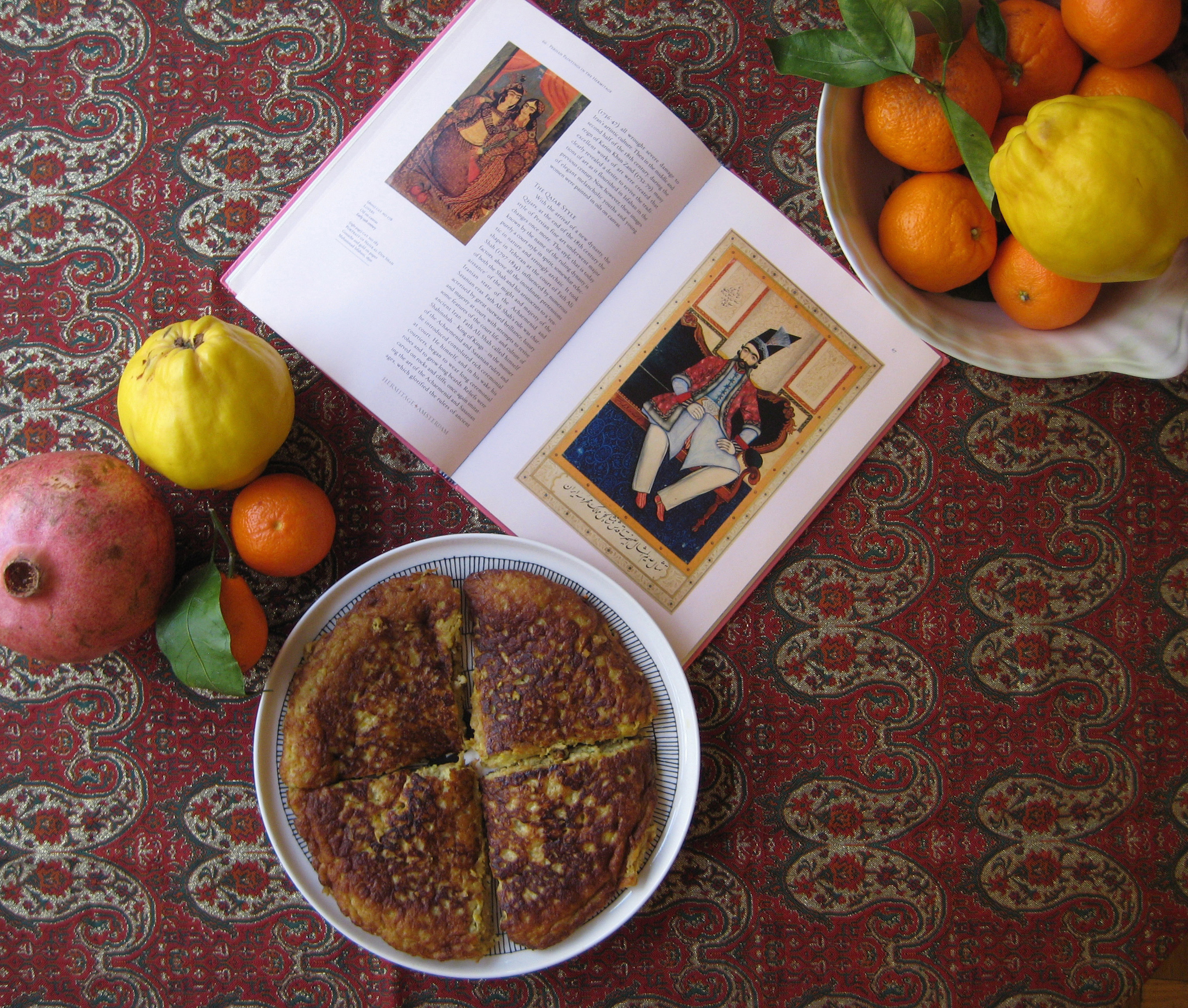Kookoo ye beh quince kookoo fit for a persian qajar king fig quince kookoo qajar king fruits and paisley buteh jegeh persian food by azita houshiar forumfinder Gallery