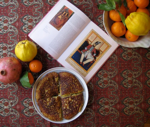 Quince Kookoo, Qajar King, fruits and paisley buteh jegeh Persian food by Azita Houshiar