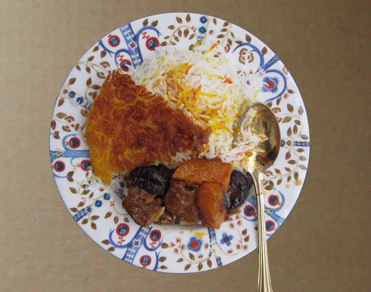 Khoresh Kadoo Halva 'ye with Persian rice & tadig