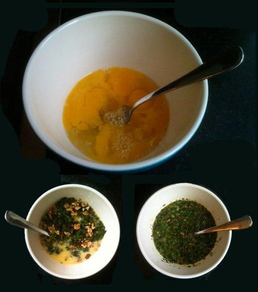 Kuku Sabzi batter: chopped herbs, walnuts & berberries folded into lightly whipped eggs