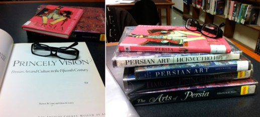 Persian Art Books | Brooklyn Public Library glasses reading Iranian photo by Azita Houshiar