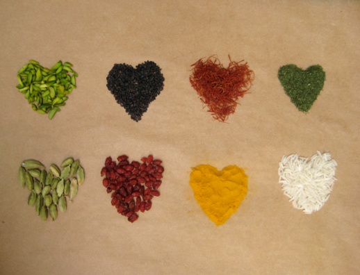 Persian Spices & Ingredients: pistachio, nigella seeds, saffron, dried mint, cardamom, berberis, turmeric, white rice.
