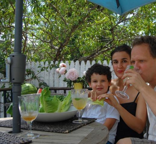 Mom dad young son sharbat va kahoo sekanjabin outdoor deck yard persian food blog