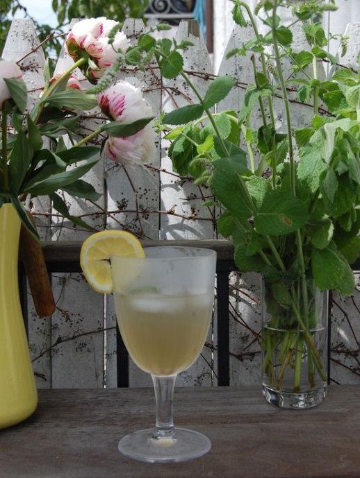 sharbat sekanjabin fresh flowers fresh mint outdoor deck for persian food blog