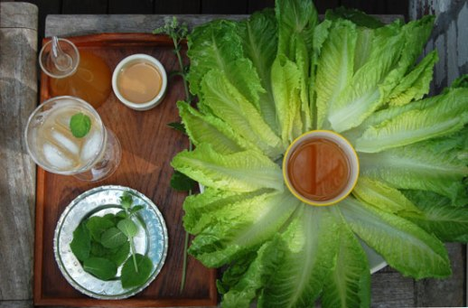 Overview of lettuce leave petals and a bowl of sekanjabin dip with mint, honey and vinegar for persian food blog