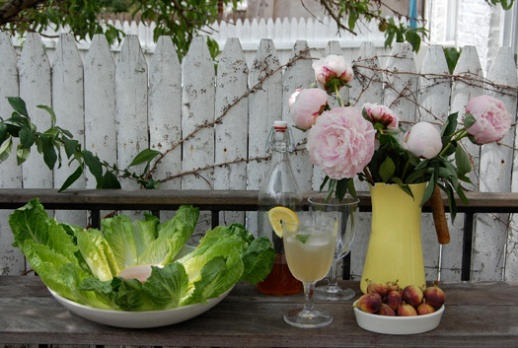 sharbat sekanjabin figs peonies fresh mint flowers outdoor still life pretty Persian food blog