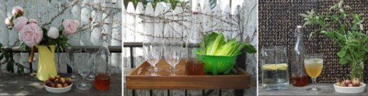 Romaine lettuce in colander and empty goblets in wooden tray for persian food blog recipe for sharbat  'e sekanjabin (Honey mint vinegar syrup cooler summer drink)