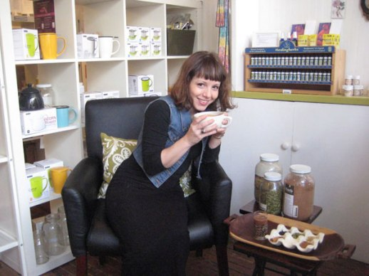 Girl drinking clover cocoa cinnamon chia from Persian cup in Brooklyn Herb Shoppe