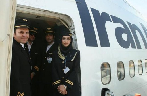 iran Air flight attendant pilot crew plane contemporary photograph