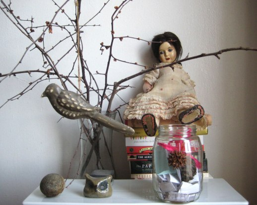 doll bird gratitude jar still life for food blog