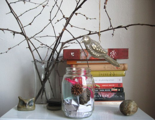 gratitude jar happy jar blessing jar bird books owl stone still life for blog