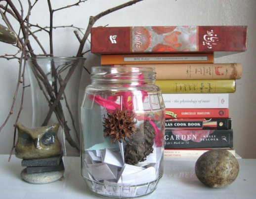 blessing jar happy jar gratitude jar stone owl books branches still life for blog