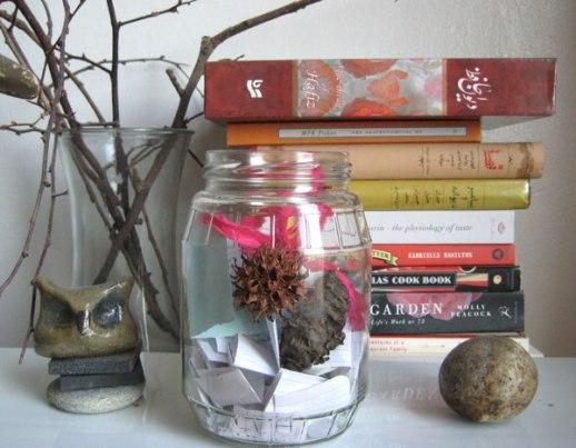 blessing jar happy jar gratitude jar stone owl books branches still life for blog