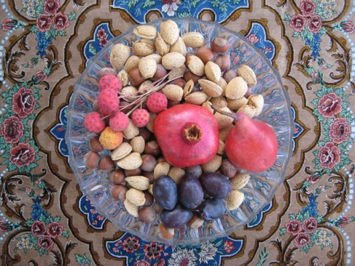 pomegranate plums nuts pear fruit Persian food Persian festival of Mehregan Persian food blog