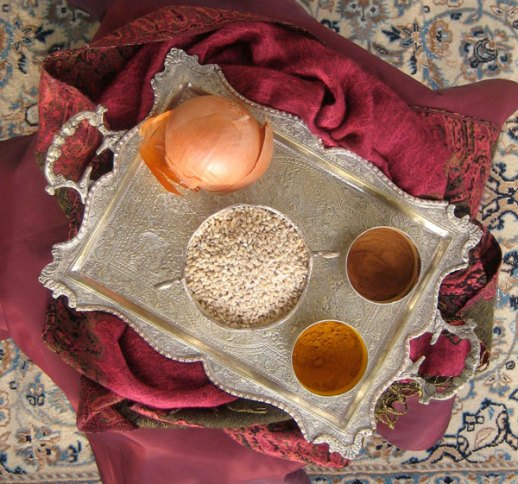 Ingredients for halim (Persian wheat porridge)