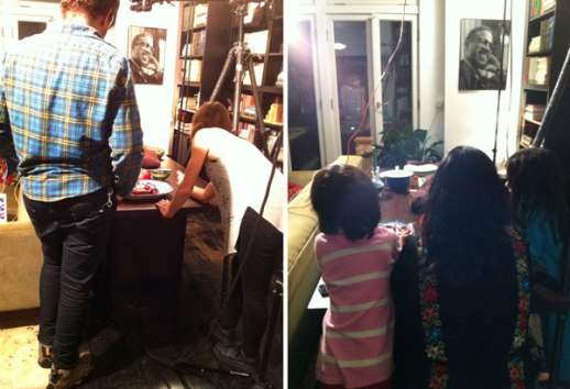 Dr. Bashi (Golbarg) and children with pomegranatesBehind scenes New York Times fesenjan Yalda shoot