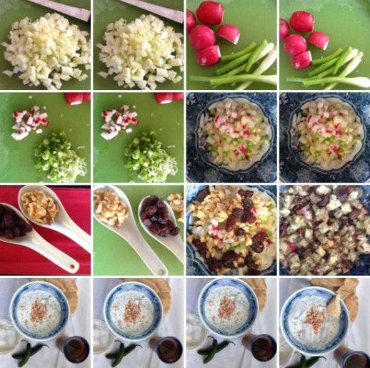 radish scallions yogurt walntus raisins cucumbers = ingredients of abdoogh khiar (Persian cucumber yogurt soup)   FigandQuince.com (Persian cooking and culture blog)