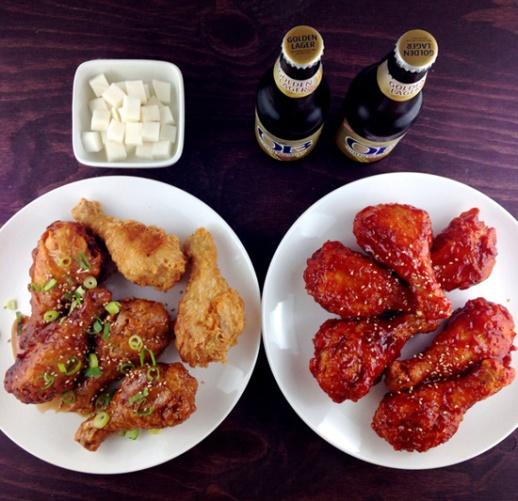 Ban Ban Chimek Korean fried chicken dish with beer