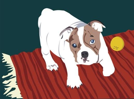 bulldog portrait digital illustration vector art