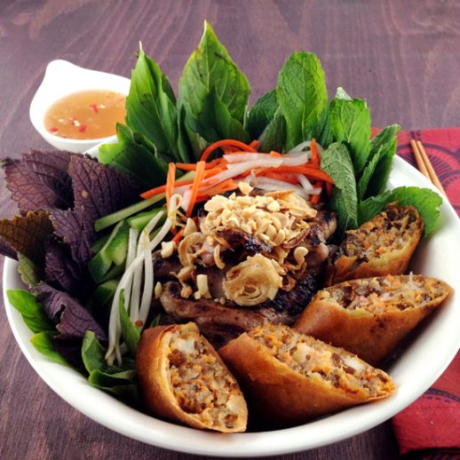 bun thit nuong cha gio. Vietnamese vermicelli noodle bowl with marinated grilled pork