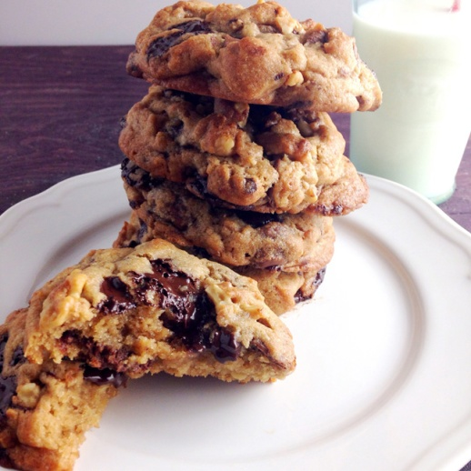 chocolate chunk cookies tower stacked YUM