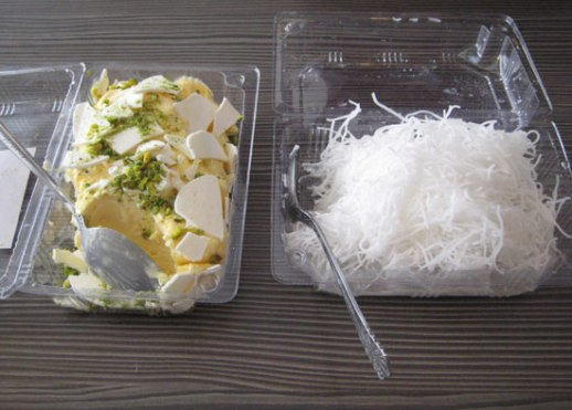 Traditional Persian ice cream and starchy noodles (faloodeh ye bastani)