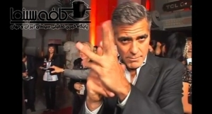 George Clooney snapping fingers Persian style in interview بشکن زدن جورج کلونی به خاطرعلاقه به ایران و شوخی با ایرانیان