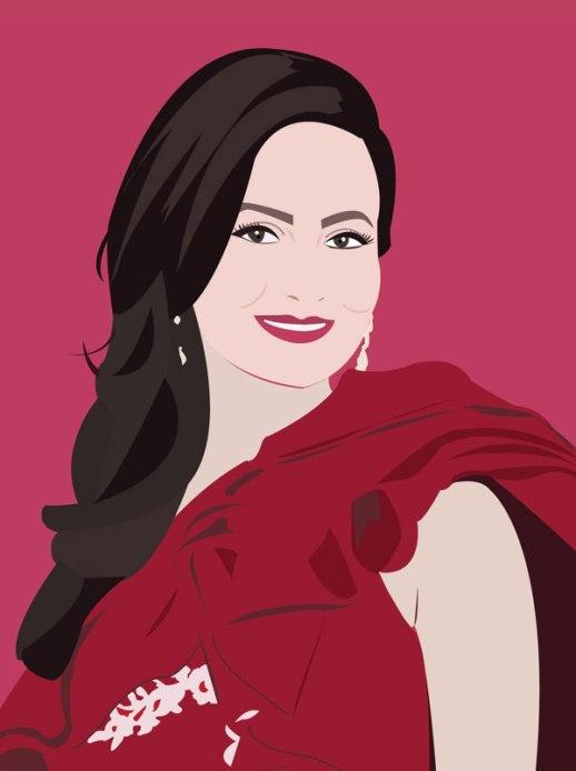 Glamorous woman portrait digital illustratio vector art red beautiful