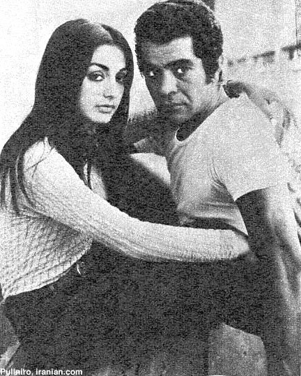 B&W photo Gooogoosh Behrooz Vossoghi embracing iranian pop stars movie stars Persian vintage